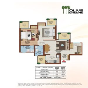 Ajnara Olive Greens Towers 2BHK Floor Plan