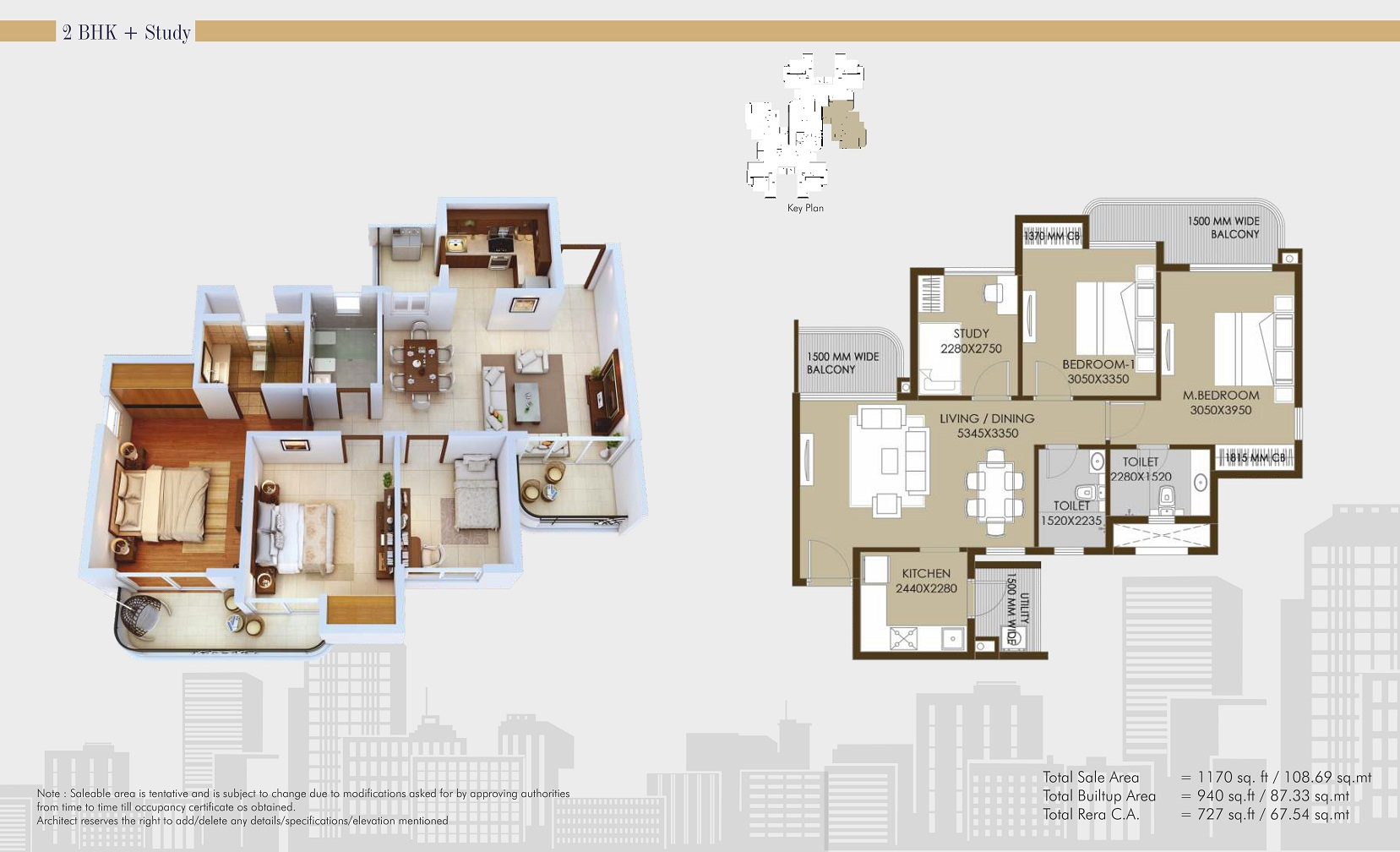 CRC Sublimis 2BHK 1170 sqftFloor Plan