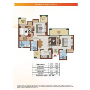 Ajnara Olive Greens Tower Floor Plan 3BHK