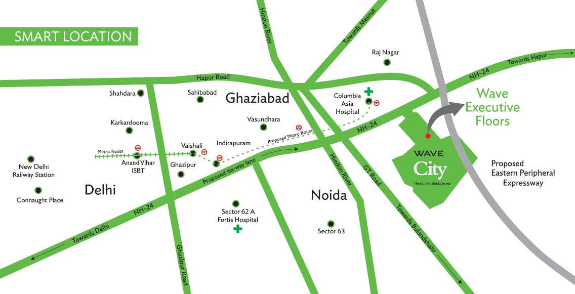 Wave City Ghaziabad location Map